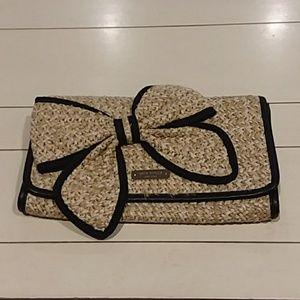 Kate Spade straw clutch bow black purse small